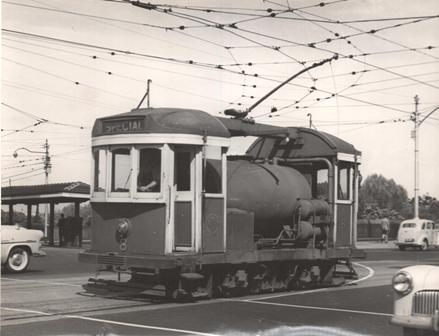 No. 8 crosses Princes Bridge with Batman Ave terminus in the background - 1955.